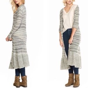 Free People Long Cardigan Peplum Sweater Duster